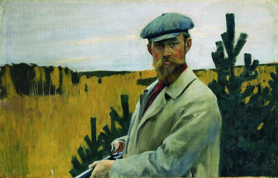 Born into a poor family, Boris Kustodiev (1878-1927) was prepared for a life in the priesthood. Having enrolled at a seminary, in 1896 he left for St. Petersburg and entered the Academy of Fine Arts. // Self-portrait during the hunt, 1905.