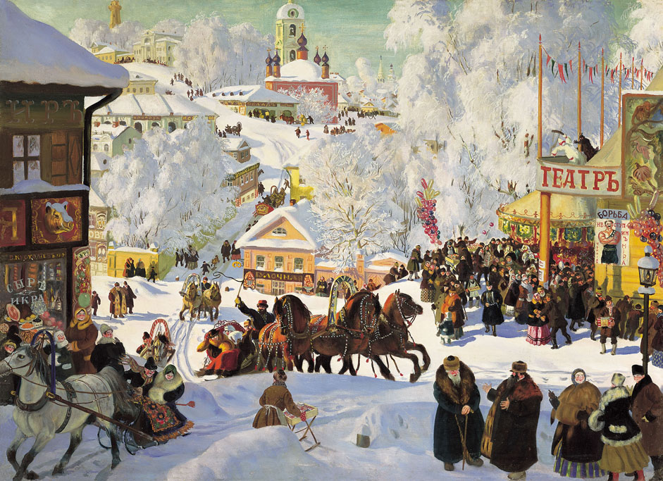 "Kustodiev found time to devote himself to more intimate pursuits, such as his nostalgic love of old Russia, which he sought to recreate in a variety of paintings, watercolors, and drawings. He composed variations on the theme of maslenitsa in the paintings ""Circus Tents"" (1917), ""Maslenitsa"" (1919), and ""Winter. Shrovetide Festivities"" (1921)."