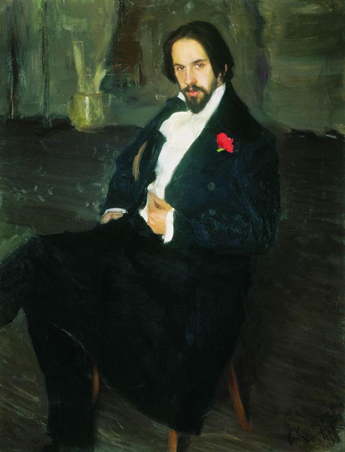 There, he worked in Ilya Repin's studio, and was so successful that the latter invited him to be his assistant. Kustodiev displayed a gift for portraiture, completing a series of first-class works; for example, his portraits of Ivan Yakovlevich Bilibin, 1901.