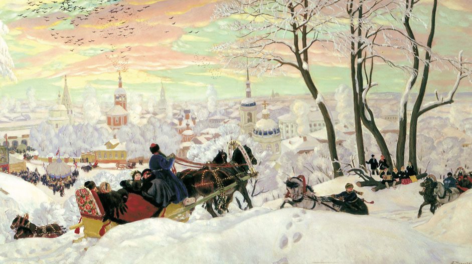 "The result was ""Maslenitsa"" (1916) — an idyllic panorama of this Shrovetide celebration in a Russian provincial town. Kustodiev worked on this cheerful picture in wretched circumstances: as a result of a serious illness in 1916, he was confined to a wheelchair and tormented by recurrent pain."