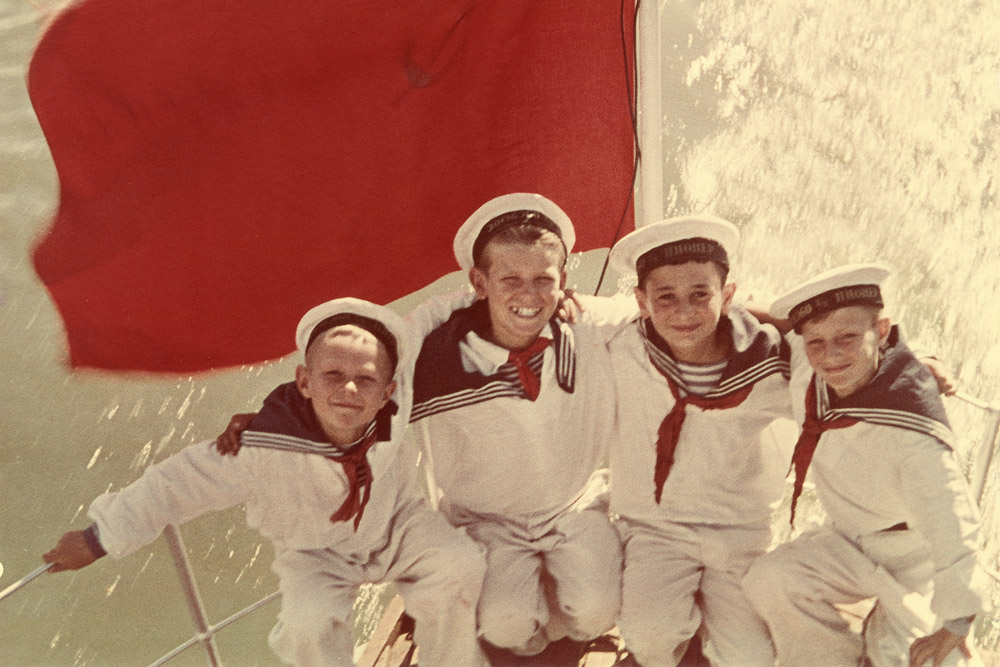 Sea cadets. End of 1940s. Artist's colour print. // This exhibition with the metaphorical title 'Primrose' demonstrates the appearance and development of colour in Russian photography from the 1860s to 1970s, and at the same time reveals the history of Russia in photography.
