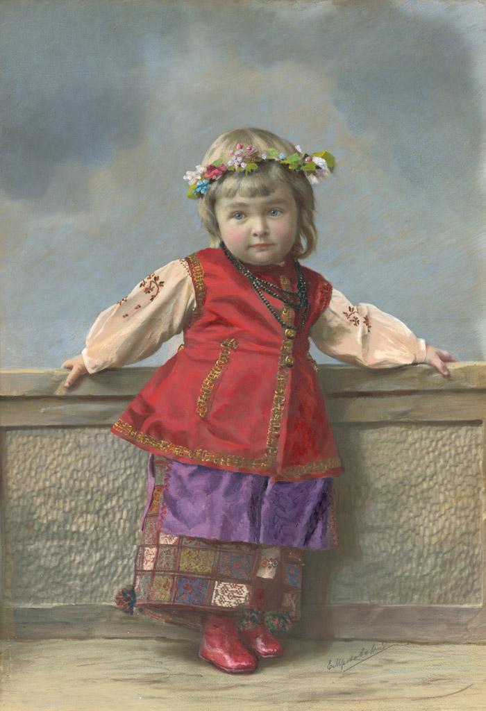 小ロシアの衣装の女の子のポートレート。サンクトペテルブルク。 1900年代。ゼラチンシルバープリント、絵の具。// 19世紀の終わり頃の1880年代と1890年代には、カラー写真は建築、景観および産業を主題とする分野にも広まった。
