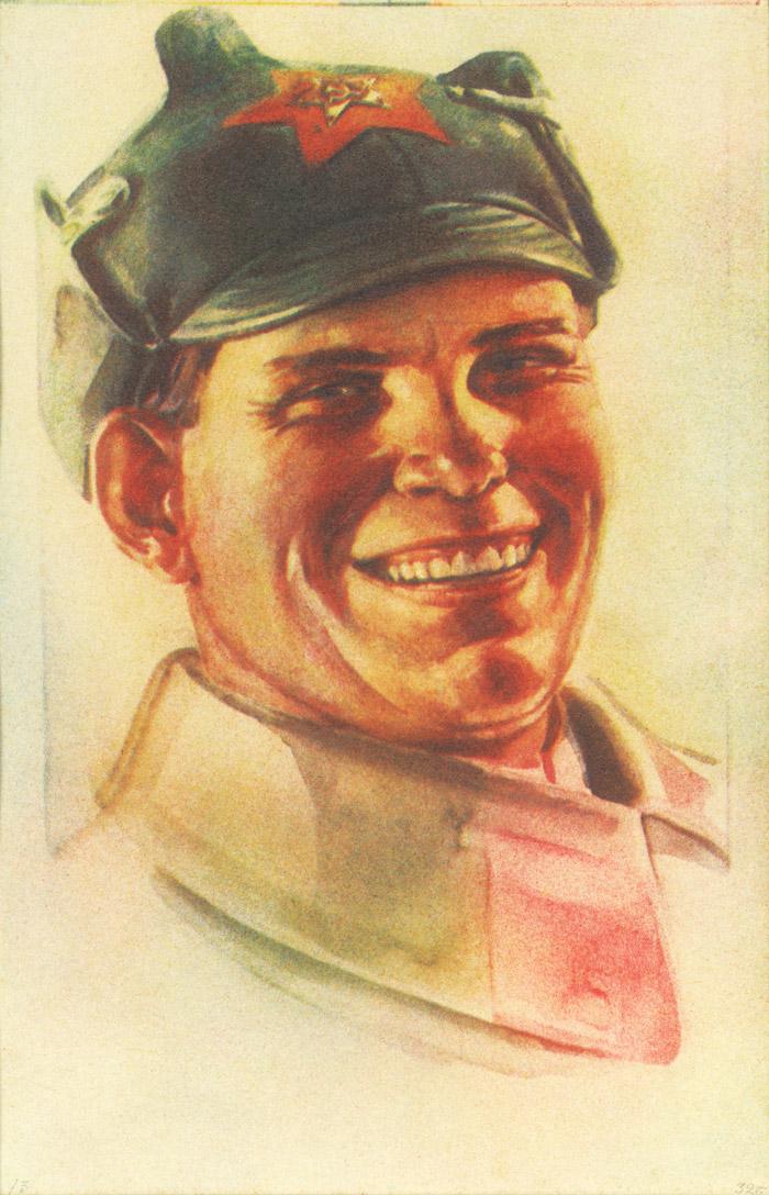 赤軍の男。1932年。三色ブロムオイル//1932年に、写真を含む、芸術のすべての形態の唯一の創造的な方法として、社会主義リアリズムのための一般的な規則がソ連で出版された。