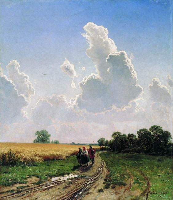 """Ivan Shishkin was born on January 25, 1832, in Yelabuga, a small provincial town situated on the banks of the Kama River. He entered the Moscow School of Painting and Sculpture at the relatively late age of 20, having struggled to overcome the patriarchal foundation of his family, who opposed his desire to become an artist. // """"Noon, suburbs of Moscow, Bratsevo"""", 1866"""