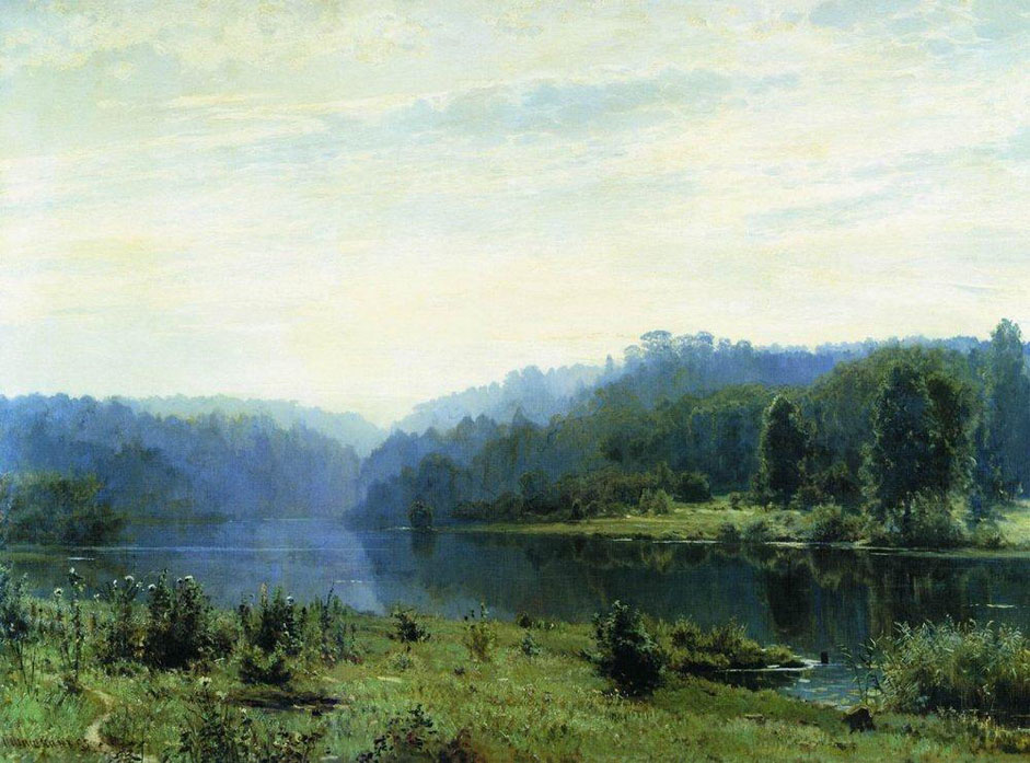 "In the 1880s and 1890s, the artist was increasingly attracted by the fickle condition of nature, its fleeting moments. Due to his interest in light, airy environments and coloring, now more than ever his creations become imbued with such elements. An example is the poetic motif and artistic harmony of ""Misty Morning"", 1885. // ""Misty morning"", 1885"