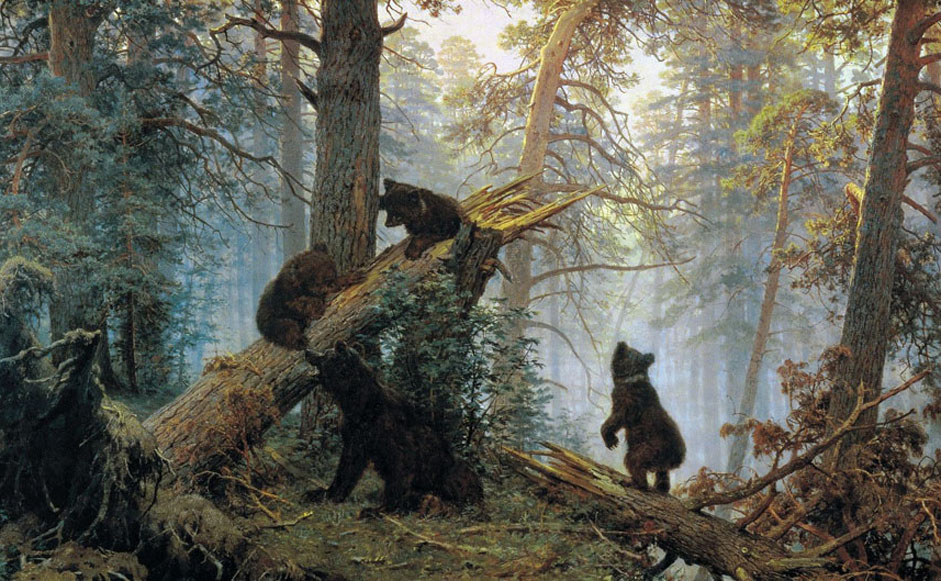 "Among the artist's most famous works is ""Morning in a Pine Forest."" It is not simply a lonely pine forest, but morning in the forest, with its lingering fog, the pinkish hue of the crowns of the immense pines, and the cool shadows of the thickets. The presence of the bear family at the edge produces a sense of the remoteness and deafening stillness of the wild forest. By the way, the bears were painted by the other master - Konstantin Savitsky.// ""Morning in a Pine Forest"", 1889"