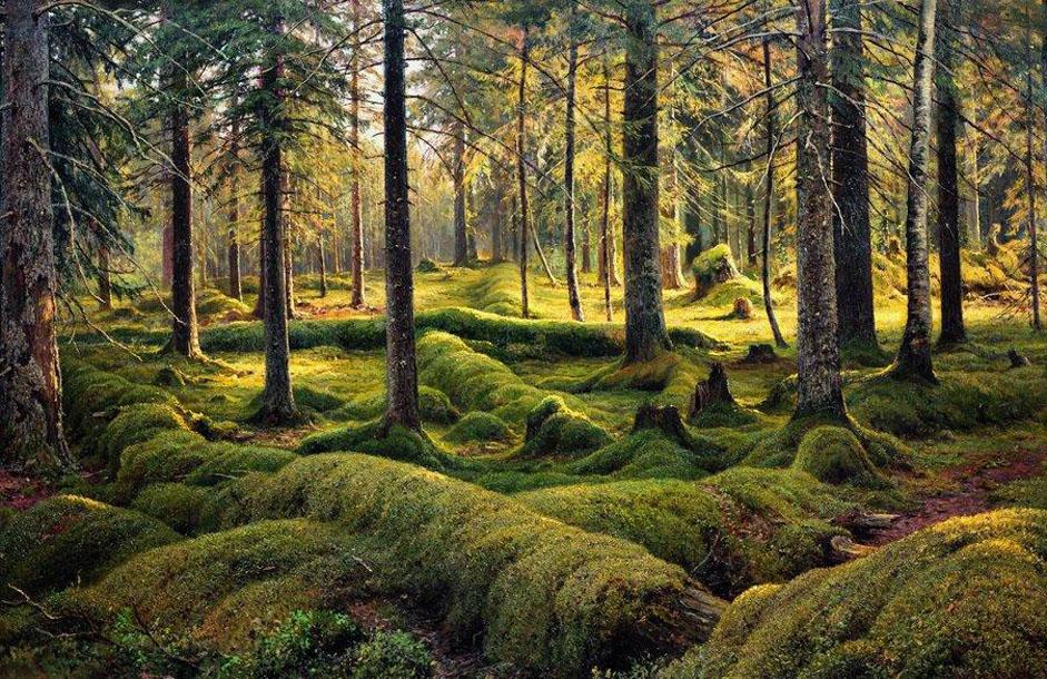 """Chichkine est décédé le 20 mars 1898 dans son atelier, derrière le chevalet sur lequel il venait d'entamer l'esquisse du """"Royaume de la forêt"""" / / """"Cimetière forestier"""", 1893."""