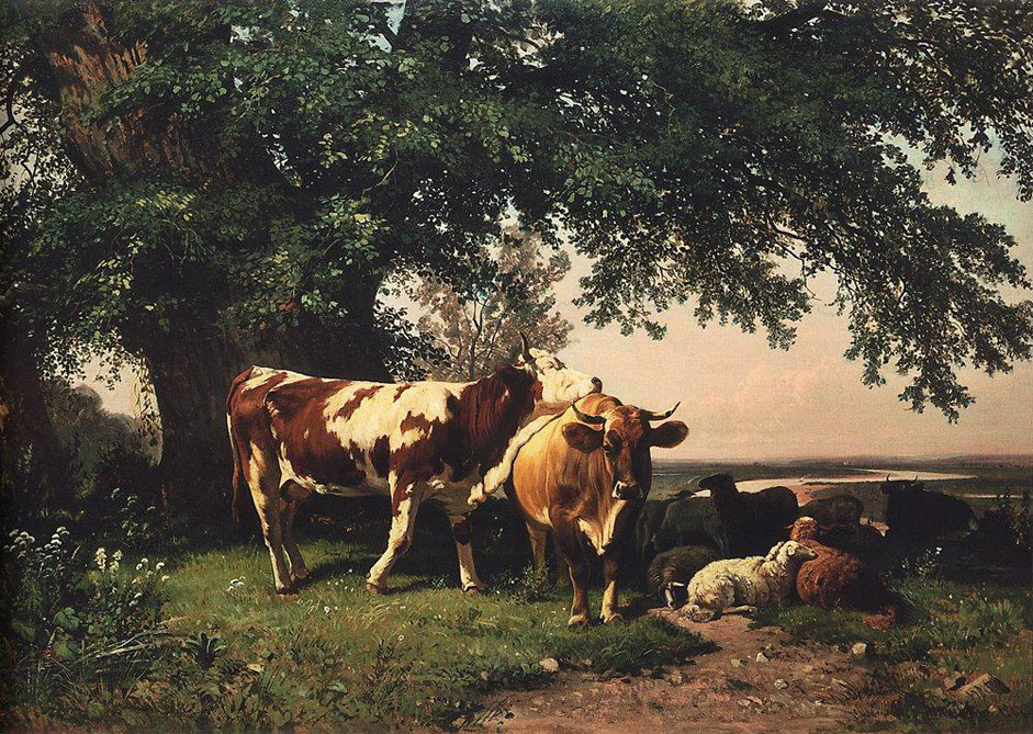 "In school, Shishkin was immediately drawn to landscape painting. The artist was forever sketching and drawing in the Sokolniki forest area in suburban Moscow. He studied the shape of plants and vegetation, delving deep into the anatomy of nature with great enthusiasm. // ""Herd under the trees"", 1864"