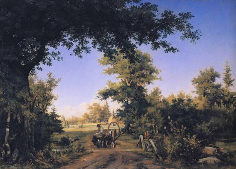 """Seeking to enhance his skills even further, in January 1856 the artist headed to St. Petersburg to enrol in the Academy of Fine Arts. From that moment on, Shishkin's creative biography is closely linked with the northern capital, where he lived out the rest of his days. // """"View in the vicinity of St.Petersburg"""", 1856"""