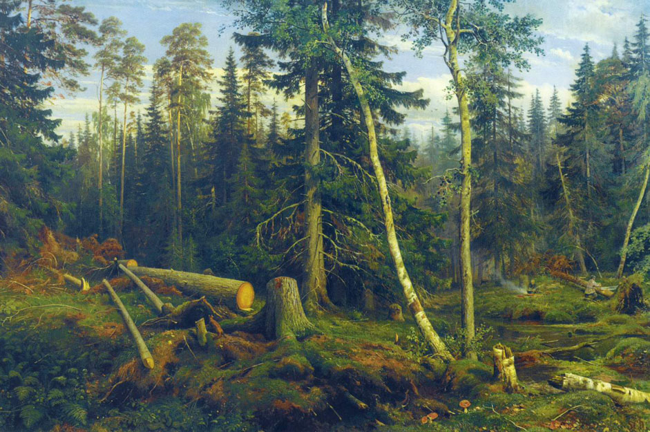 "The epic poise of the Russian forest and the inescapable and elemental belonging of Russian nature in Shishkin's oeuvre began with the painting ""Lumbering"" (1867). Thereafter, the theme of the Russian forest continued to the end of the artist's life, never running dry. // ""Lumbering"", 1867"