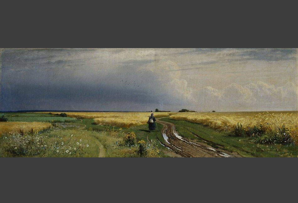 "Starting with the 1st Circulating Exhibition, Shishkin participated in expositions over a 25-year period. As one of the founders of the Association of Circulating Art Exhibitions, Shishkin became friends with Konstantin Savitsky, Ivan Kramskoy, and later, in the 1870s, Arkhip Kuindzhi. // ""The road in the rye"", 1866"