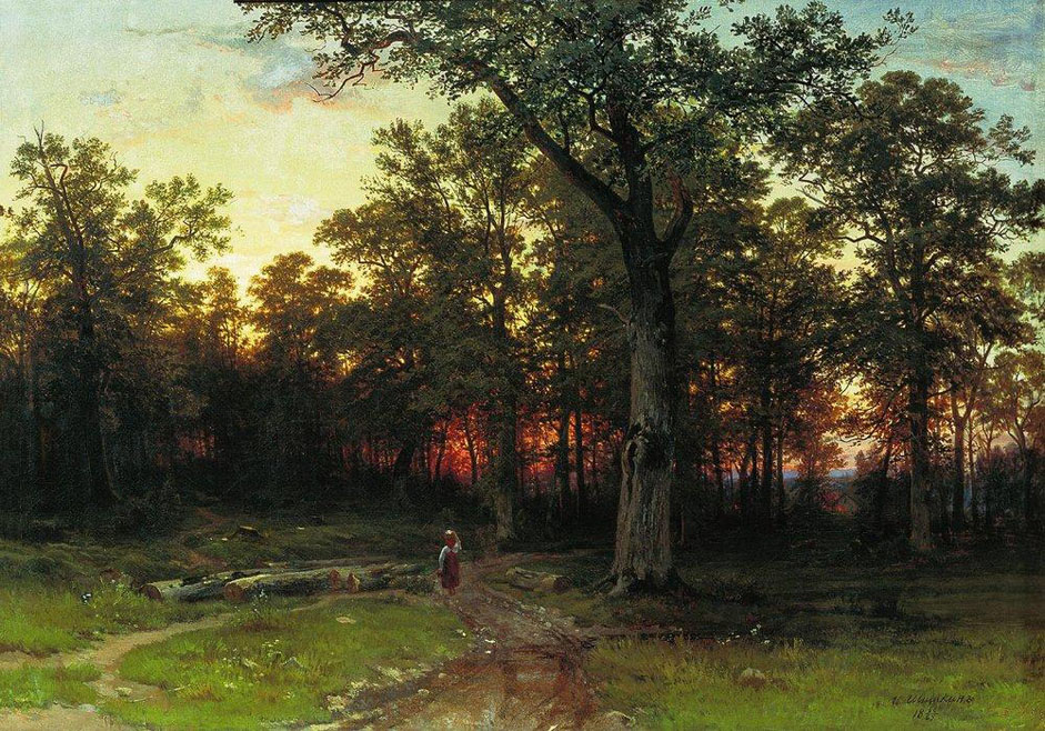 "In April 1874, Shiskin's first wife Yevgenia died, and soon afterwards their young son. Weighed down by personal sorrow, he temporarily abandoned his work. But by 1875, at the 4th Circulating Exhibition, Shishkin was able to present a series of pictures. // ""Wood in the evening"", 1869"