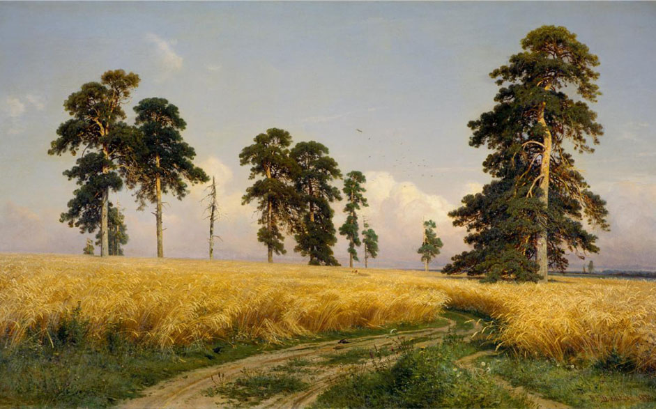 "In some works, the artist achieves a high poetic abstraction, without ever neglecting to convey a minute level of detail. For the 1870s, an example thereof was ""Rye"" (1878). The title ""Rye"" expresses to a certain extent the essence of the rendering, in which everything is sagaciously simple, yet profound. // ""Rye"", 1878"