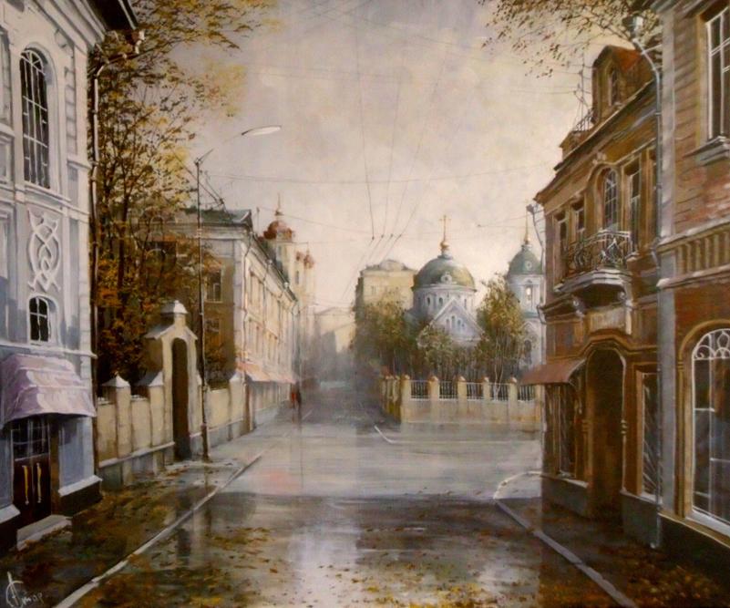 このアーティストの一番好きなジャンルは、時折、ファンタジーの要素を織り交ぜたふるいモスクワの都市景観である。