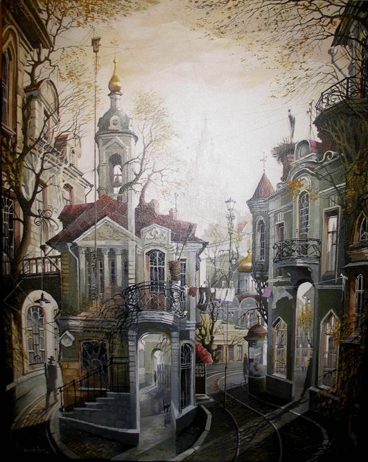 彼の古いモスクワの絵を見ていると、見る者は、いつの時代のどこが描かれているか、推測する事しか出来ない。描かれている建築物、教会、家や道路などは見慣れた感じがするが、具体的にどこのものかは思い出しにくい。