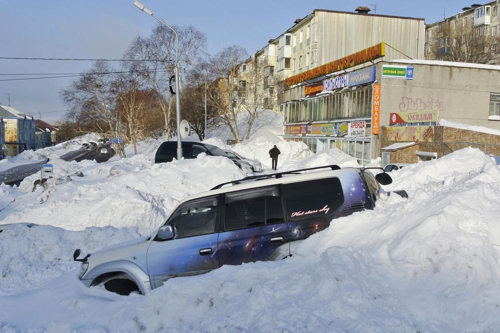 雪が降った後のカムチャツカ。ちなみに、何人かのロシアの科学者たちは現在の強い寒波とヨーロッパとロシアの異常な降雪量は地球規模の気候変動の結果であると信じている。