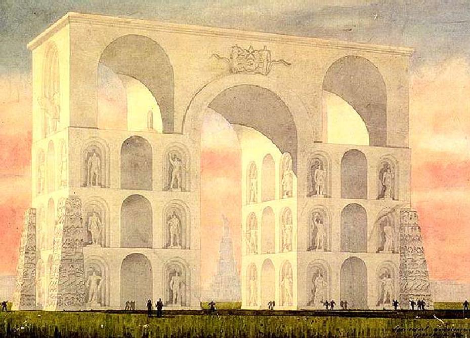 L. Pawlow, der Gestalter des Heldenbogens, wollte sein Monument auf dem Roten Platz errichten. Er wurde jedoch nie gebaut.