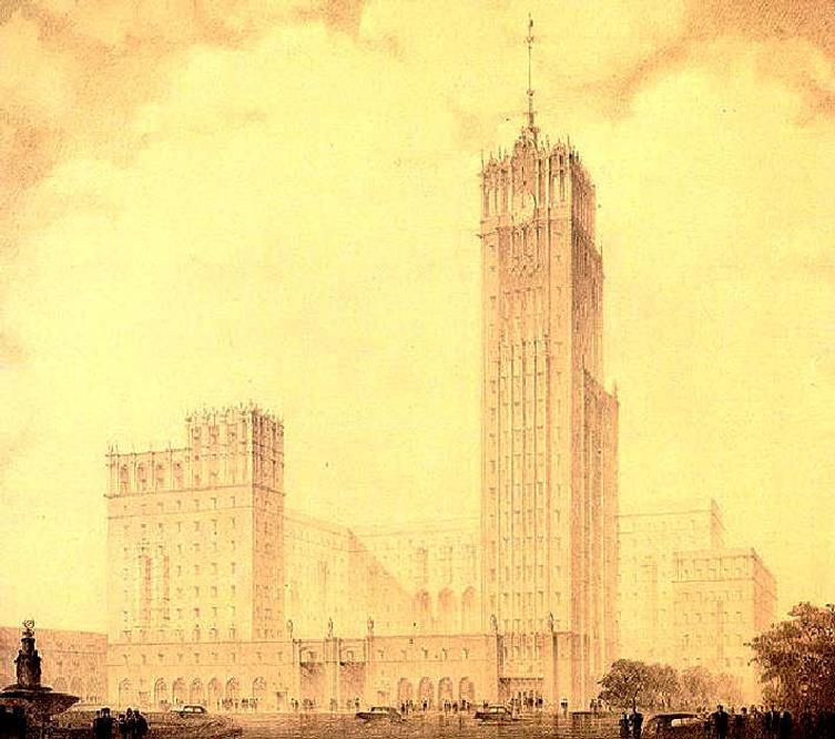 V. Oltarschewski tauchte in Architekturtheorie und die Methoden des Hochhausbaus ein. Besondere Aufmerksamkeit schenkte er den vielfältigen Techniken des Designs und der Konstruktion von Wolkenkratzern. Oltarschewskis Projekt wurde allerdings nicht realisiert.