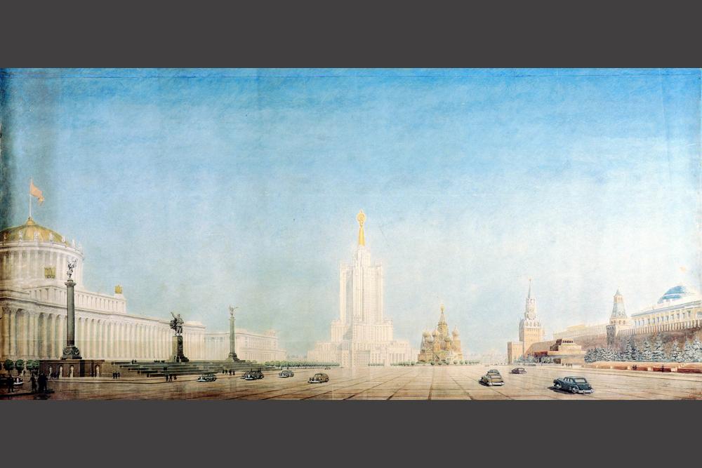 En 1947, le gouvernement soviétique a publié un décret sur la construction d'immeubles de grande hauteur à Moscou. Au début des années 1950, des immeubles très élevés avaient été construits sur le mont Lénine, Place Smolensk, Place Lermontov, Place Komsomolskaya, Avenue Koutouzov, quai Kotelnitcheskaya, et place Vosstaniya. Seule la construction d'un immeuble administratif de 32 étages dans le quartier de Zaryadye, censé être un des principaux éléments de la ligne d'horizon du centre-ville, n'a pas été réalisé.