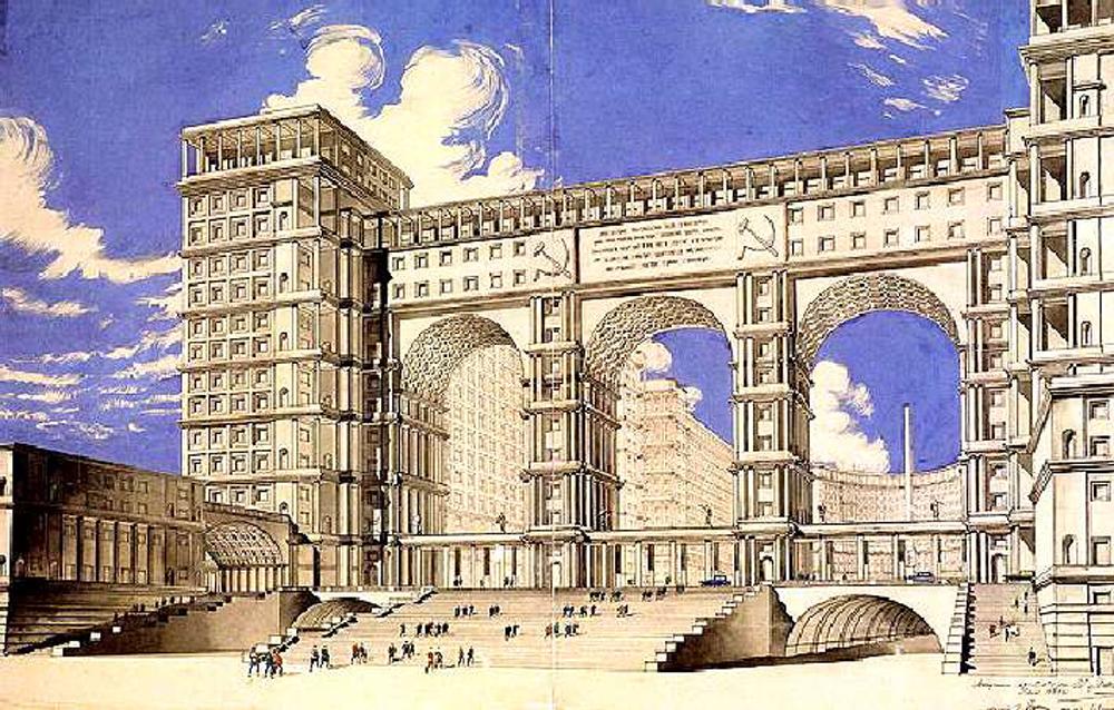 1934 erfolgte die Ausschreibung für das Gebäude des Volkskommissariats der Schwerindustrie auf dem Roten Platz. Dieses riesige Bauwerk mit einem Volumen von 110.000 Kubikmetern sollte sich über eine Fläche von vier Hektar erstrecken und hätte zu einer radikalen Umgestaltung des Roten Platzes geführt. Doch es wurde nie gebaut.
