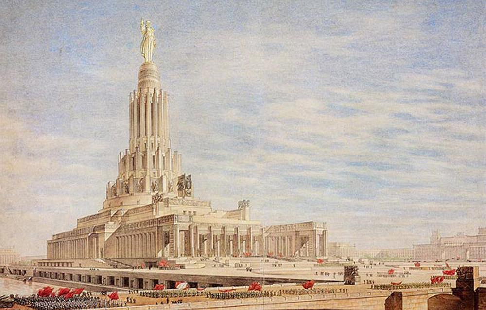 """Die Ausschreibung für den Sowjetpalast in Moskau war eine der umfangreichsten und repräsentativsten Architekturwettbewerbe des vergangenen Jahrhunderts. Die Idee, als Symbol des übevorstehenden Triumphs des Kommunismus"""" ein Bauwerk in der Hauptstadt des weltweit ersten Arbeiter- und Bauernstaates zu errichten, kam erstmals in den 1920er Jahren auf."""