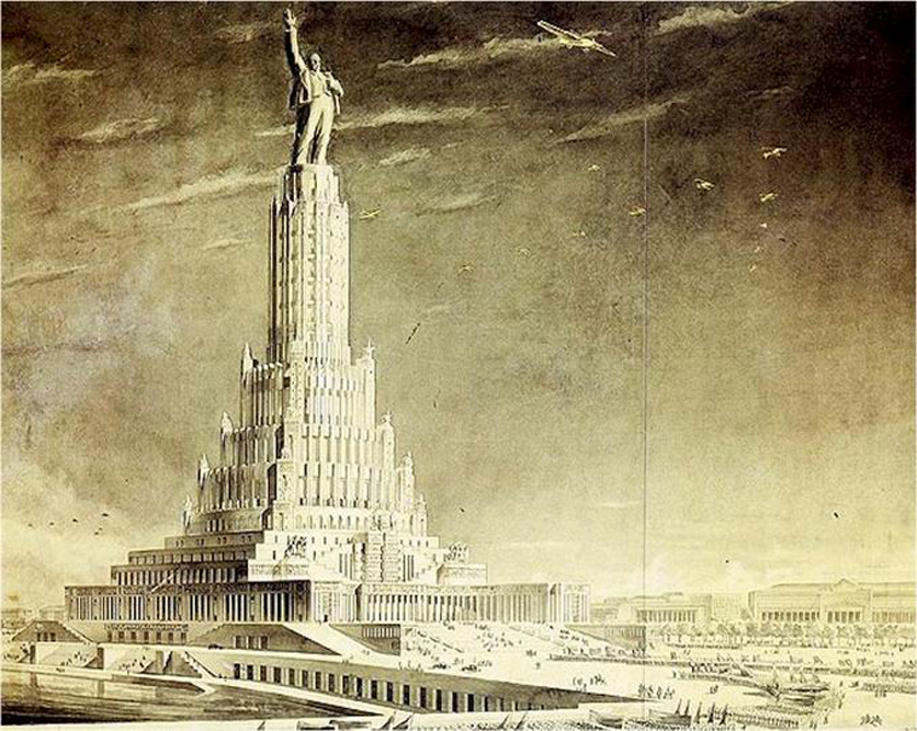 The tender for the Palace of the Soviets project was announced in 1931 and consisted of several stages. The Palace of Soviets was conceived as the largest building on Earth. At 415 meters high, it would have eclipsed the two tallest buildings of the day: the Eiffel Tower and the Empire State Building. But again, it was never built.