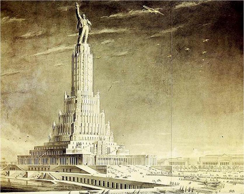 1931 wurde die Ausschreibung für den Sowjetpalast veröffentlicht. Sie umfasste mehrere Phasen. Der Palast sollte das größte Gebäude der Welt werden. Mit seinen 415 Metern Höhe hätte es die beiden damals höchsten Gebäude in den Schatten gestellt: Den Eiffelturm und das Empire State Building. Doch auch dieses Bauwerk wurde nicht errichtet.