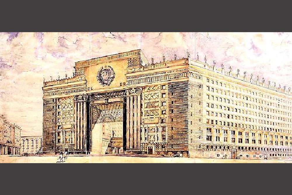 Die Gebäude des Architekten L. Rudnew gehören zu den bekanntesten in Moskau. Er leitete 1953 das Designteam des Bauprojekts für das Hochhaus der Moskauer Staatsuniversität auf den Sperlingsbergen (ehemals Leninbergen). Sein Designprojekt für den Arbat-Platz, das nur teilweise realisiert wurde, kennzeichnet architektonisch den Übergang von der schwermütigen Pracht der Bauwerke des Volkskommissariats für Verteidigung aus den 1930er Jahren zum heiteren Prunk der 1940er und frühen 1950er Jahre. // Gebäude des Volkskommissariats.