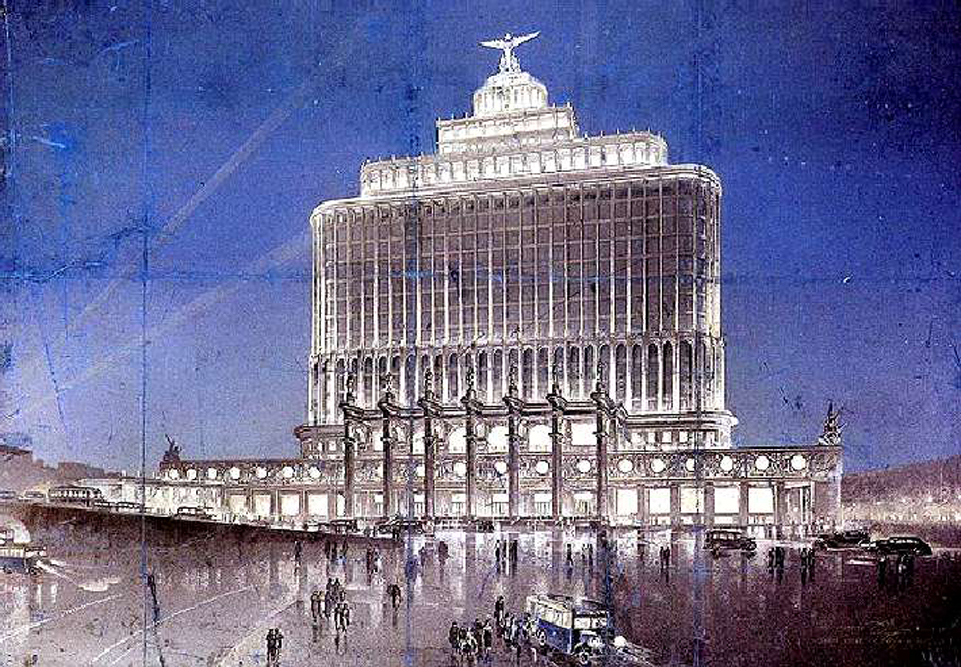 The Aeroflot building, planned to be sited at Belorussky Station, was designed by architect D. Chechulin as a monument to the heroism of Soviet aviation.  The project was not realized as originally conceived.