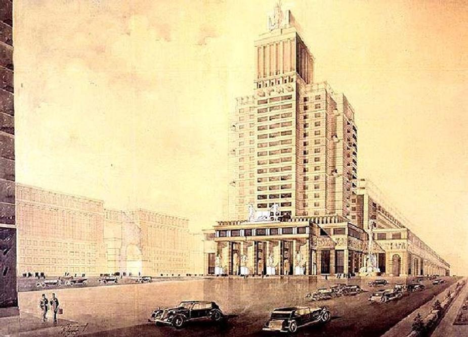 """Das Dom Knigi (Haus des Buches) ist ein typisches Beispiel des Konzepts der frühen 1930er Jahre eines Bauwerks als """"architektonisches Monument"""". In den 1930er Jahren machte sich der Architekt I. Golosow im Bereich des Konstruktivismus einen Namen. Die Entwürfe, die er für den Sowjetpalast und die Projekte des Volkskommissariats einreichte, waren äußerst originell. Golosows charakteristische Besonderheiten werden als """"symbolische Romantik"""" bezeichnet."""