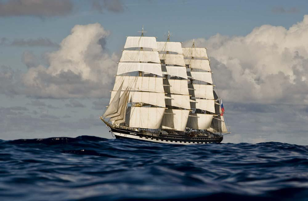 """The Kruzenshtern or Krusenstern is a Russian four masted barque and tall ship that was built in 1926 in Bremerhaven-Wesermünde, Germany, as shipyard number """"S408"""" under the name Padua (named after the eponymous Italian city). She was given to the USSR in 1946 as war reparation and renamed after the early 19th century Baltic German explorer in Russian service, Adam Johann Krusenstern (1770-1846). On April 19 it will leave the Kaliningrad's harbour to visit Klaipeda (Lithuania), then Hamburg and Rouen in the end."""