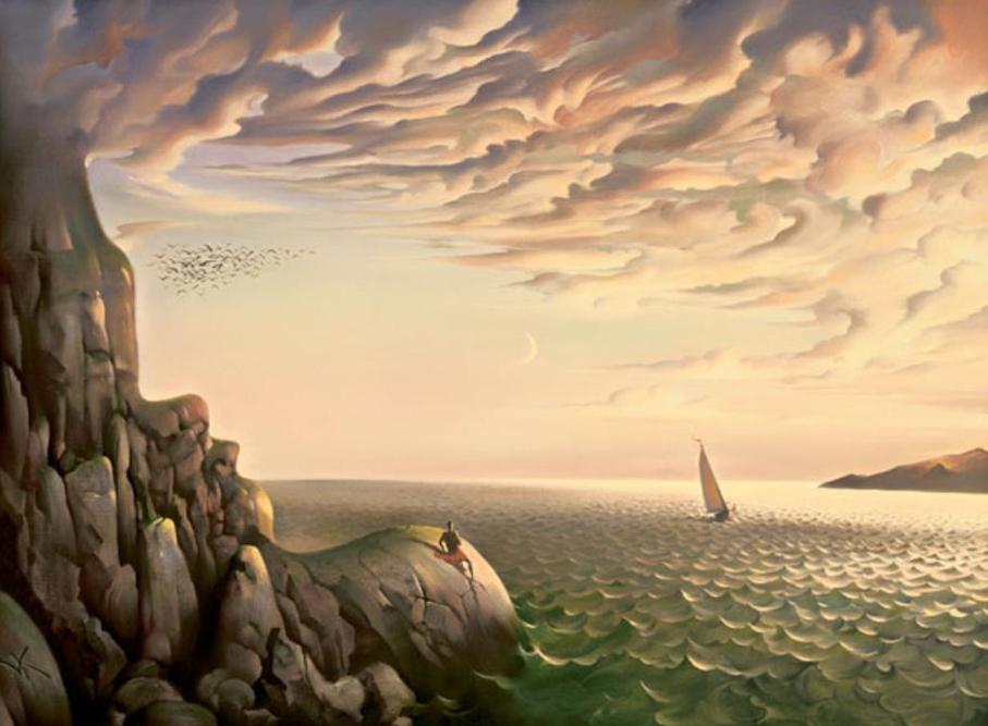 ウラジーミルさんはハワイにたどりつき、そこで子供時代から夢見ていた世界を発見した(最初に描いた油絵は大きなハワイの砕波)。