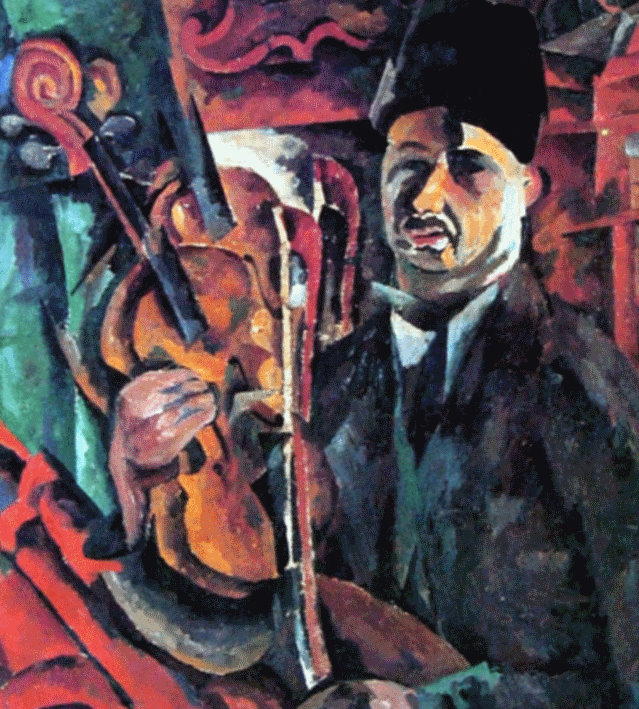"Theaterization and the principle of acting are clearly manifested in Lentulov's landscapes and portraits, for example, his 1919 ""Self-Portrait with Violin."" He became slowly but increasingly enamored of the real embodiment of objects, people, and nature, admitting that he ""didn't want to paint on the subject of folds of clothing, the nose, ears, etc., but to paint the actual folds, nose, ears, head, trees as they really exist..."" // ""Self-Portrait with Violin"", 1919"