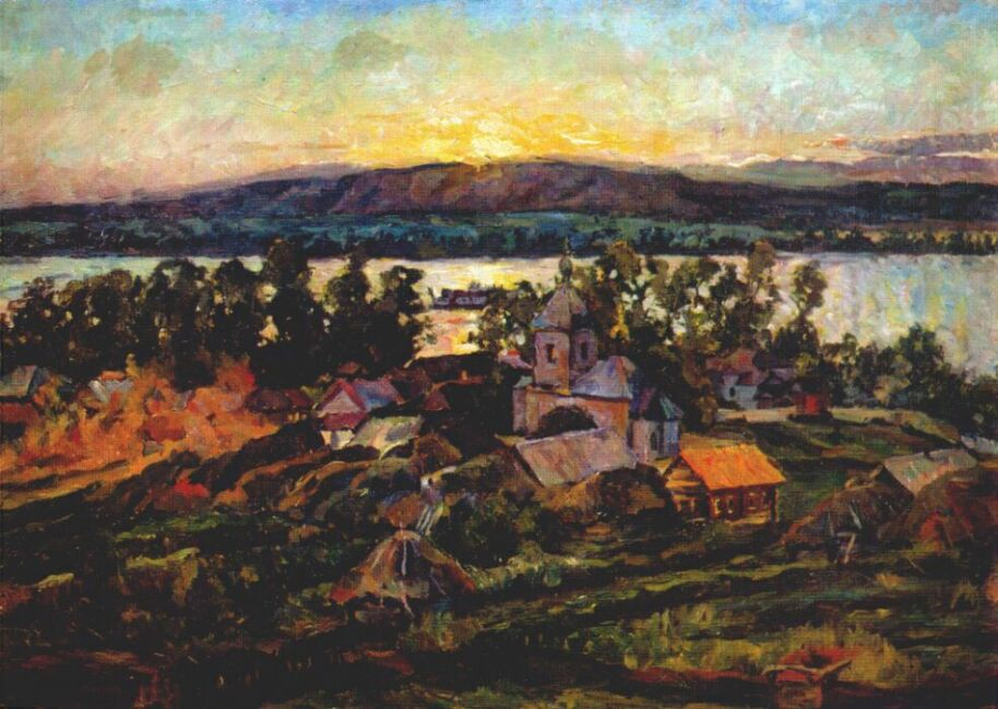 "After becoming the chairman of the Society of Moscow Artists (which in 1928 united most of the ""Jacks""), he switched to tonal painting, preserving somewhat the shades of the forced chromaticity that once held sway; he created landscapes, portraits, and still lifes, filled with a sense of the fullness of life (""Sun above the Roofs. Sunrise,"" 1928, ""Vegetables,"" 1933, etc.). // ""Sunset on the Volga,"" 1928"