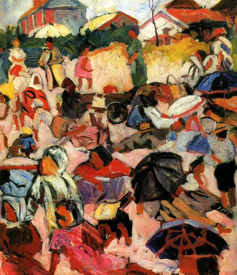 "In 1907, in St Petersburg, he struck up a friendship with the ""father of Russian futurism,"" David Burliuk, and his brother Vladimir, who both greatly appreciated the artist. Lentulov studied the Classics at the Hermitage, simultaneously taking part in a variety of startling events and exhibitions. // ""The umbrellas"", 1910"