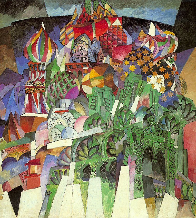 "The name ""Jack of Diamonds"" was conceived by chance, and Lentulov always insisted that it was he, not Larionov, who coined it. The artists who participated in the ""Jack of Diamonds"" exhibitions cultivated the concept of thingness and objectness. The rhythmic structure of Lentulov's landscapes gradually began to resemble architecture carved out of nature. // ""The Saint Basil's cathedral"", 1913"