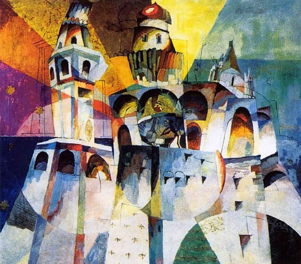 "His large canvas painting of 1915 (""Ring of the Ivan the Great Belltower"") was perceived by his contemporaries as the polyphonic embodiment of the many-voiced Easter chimes. The convention of form, color dynamics, and very real sense of time evoke that epoch of cataclysm, when many artists, poets, and musicians burned with ""fever"" on the threshold of the changes that their creativity had anticipated. // ""Ring of the Ivan the Great Belltower"", 1915"