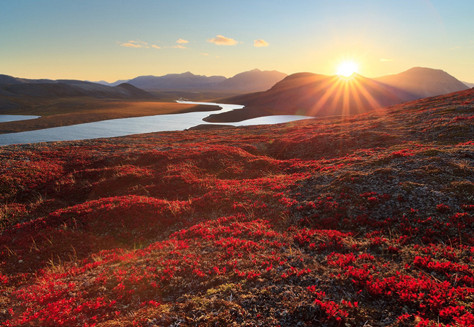 Chukotka is located at the north-eastern tip of Russia and Eurasia. It is one of the most isolated places in the world. // Late summer in southern Chukotka. A view of Tkachenskaya Valley from Mt Inakhpak.