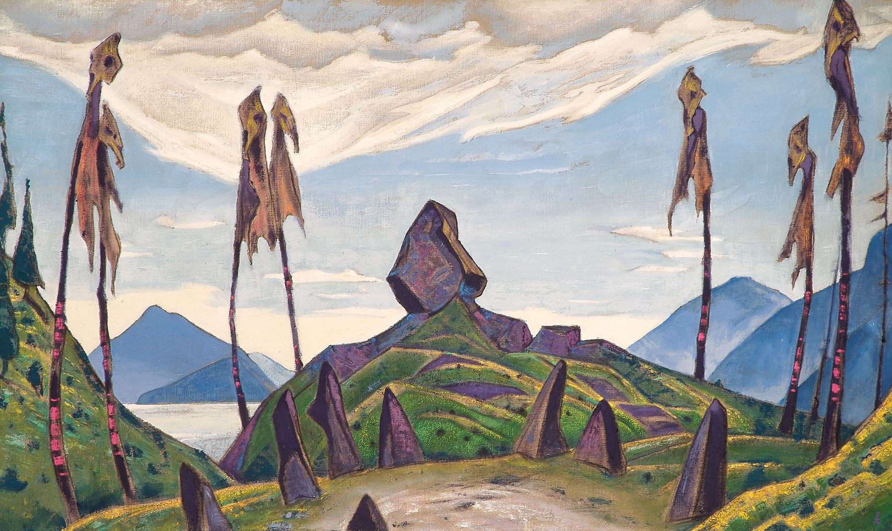 "Roerich also wrote: ""I remember how, during the first public performance, the public hissed and shouted so much that nothing could be heard. Who knows, perhaps at that very moment the people were in a state of inner exaltation, expressing their feelings like the most primitive tribe."" The idea of the primitivist purity of arts' perception affected all the 20th and 21st century art. // The decorations for the first ""Rite of spring"", 1913"