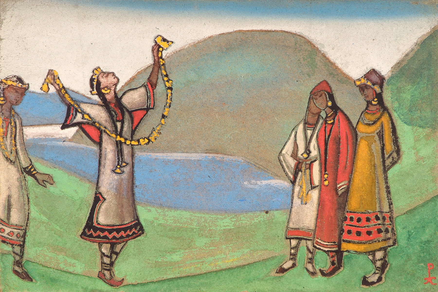イーゴリ・ストラヴィンスキーによる「春の祭典」は、異教のロシアの世界を我々に見せてくれる。冬の眠りから世界を目覚めさせるために、古代ロシア人が若い少女を春の生け贄とし、少女は死ぬまで踊り続けなければならない。//「春の祭典」の初演のための装飾、1913年