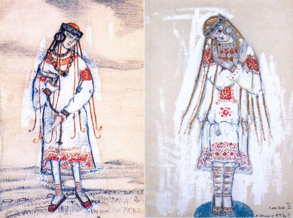 レーリヒがセットと衣装デザインをスケッチするのと同時に、ストラヴィンスキーは音楽に取り組んだ(「春の祭典」のイメージは、ストラヴィ ンスキーの夢の中に現れたと信じられている)。// 「春の祭典」の初演のための装飾、1913年