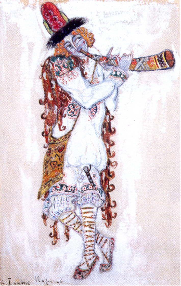 マリインスキーは、「春祭」新演出を上演する際に、ヨーロッパの現代バレエで著名なサーシャ・ワルツに委嘱した。新ステージの漠然とした空の闇は、黒 い、何もないタブレットのようで、真ん中に土の山がある。ダンサー達はまず熱狂的な動きで、それから瞑想的な動きで、その山を避ける。しかし、一歩、二歩と踏み込 み出すや、足はバタバタと跳ね始め、土と埃の塊が飛んでいく。 // 「春の祭典」の初演のための装飾、1913年