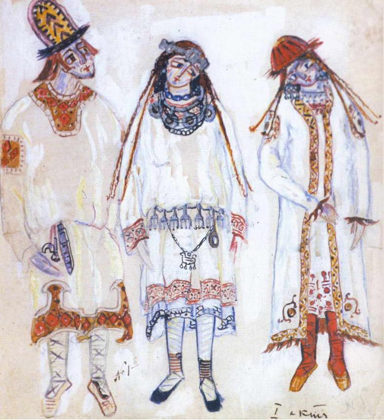 バガノワの演出はボリショイ劇場の「春の祭典百周年祭」の一環として上演されている。プログラムには、ヴァーツラフ・ニジンスキー、モーリス・ベジャール、ピナ・バウシュによる20世紀の3つの代表的な振付に加え、ボリショイのために特別に振り付けられたタチアーナ・バガノワの新演出がある。// 「春の祭典」の初演のための装飾、1913年