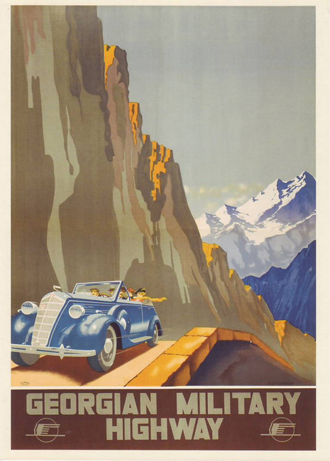 The posters were commissioned by Intourist, the organisation responsible for foreign tourism, and while they clearly present a singular perspective, it's quite a significant one. // Georgian military highway, 1939.