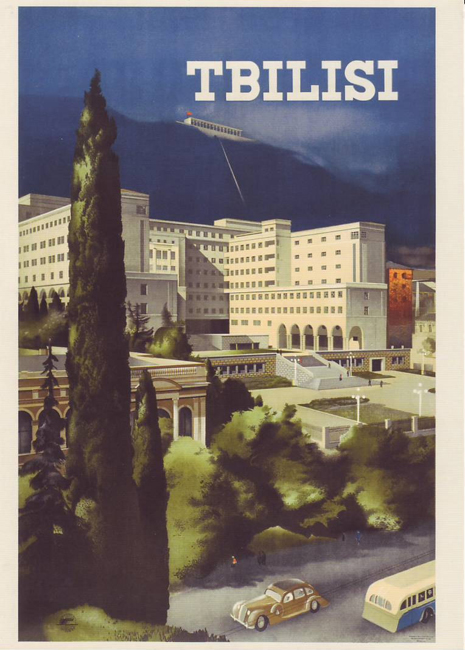 Many of the works are in the Art Deco style of the time and espouse a sense of freedom and invitation, while in some cases they present the USSR  as a gateway to the Far East. // Tbilisi, Georgia, 1939.