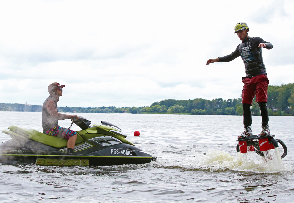 There is a Russian variation of the flyboard, similar to the ones promoted by Zapata Racing. The basic idea is the same: to use the hydrocycle jet as a source of thrust. The average price of a flyboard in Moscow is $8000.