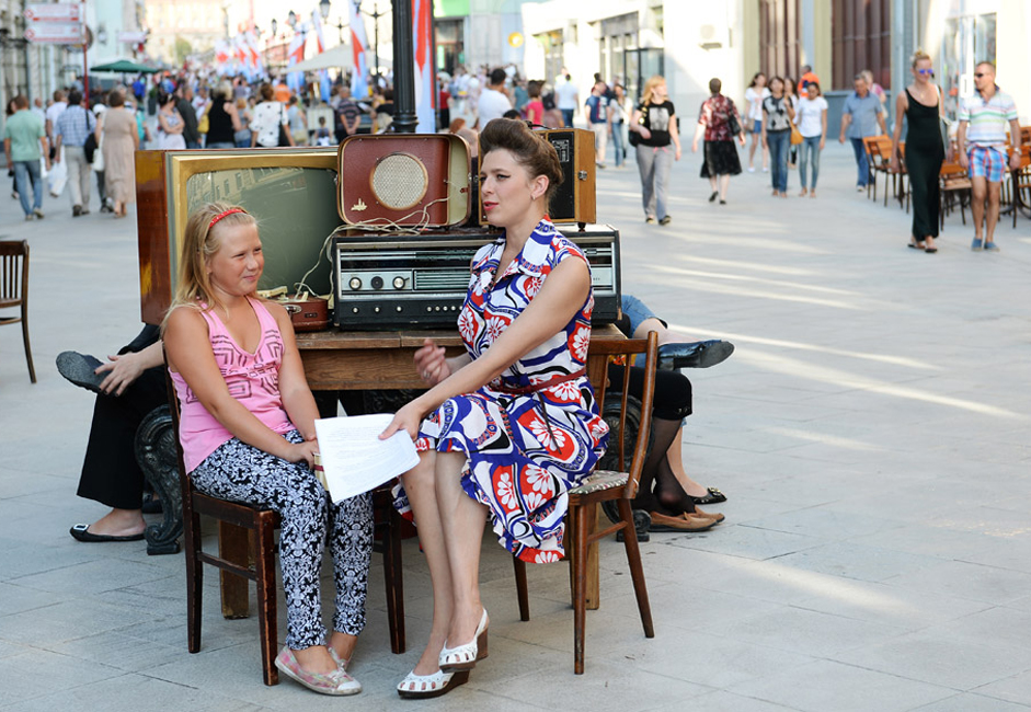 Celebrations on the occasion of opening pedestrian area in Nikolskaya Street, downtown Moscow.