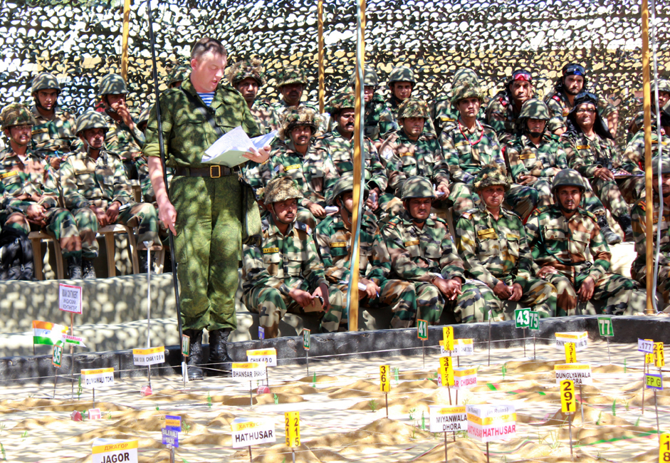 The first phase of Exercise INDRA 2013 concluded on 22 October 2013, wherein the deployment of the Russian battalion and taking over of equipment was carried out, followed by orientation with terrain and creation of Joint Staff Headquarters.