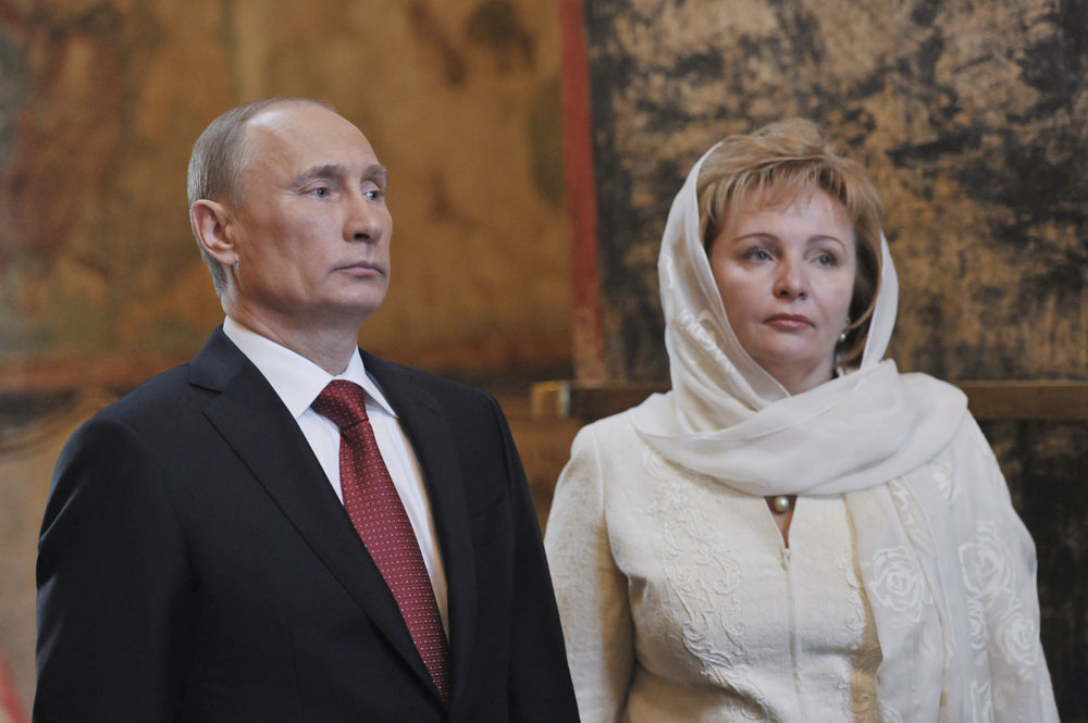 Vladimir Putin and his wife Lyudmila attend a service, conducted by Patriarch of Moscow and All Russia Kirill, to mark the start of his term as Russia's new president at the Kremlin in Moscow, May 7, 2012. Vladimir Putin took the oath as Russia's president on Monday with a ringing appeal for unity at the start of a six-year term in which he faces growing dissent, economic problems and bitter political rivalries.