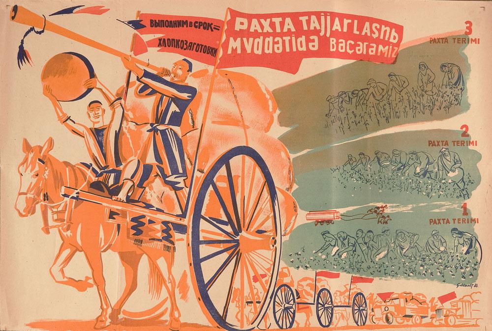 """Žetva pamuka bit će na vrijeme (1933.) Autor: Semjon Malt. Tekst na desnom na uzbečkom jeziku: """"Prva žetva pamuka. Druga žetva pamuka. Treća žetva pamuka."""" Tekst na ruskom i uzbečkom (na latinici)."""